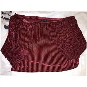 F21+ Off Shoulder Velvet Top